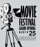 Wektorowy filmu festiwalu plakat z starą film kamerą ilustracji