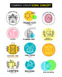 Wektorowy firm grupowych ikon pojęcie na białym tle Ilustracja Wektor
