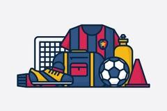 Wektorowy futbolu, piłki nożnej wyposażenie/ Kreskowa sztuka Zdjęcie Royalty Free
