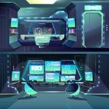 Wektorowy futurystyczny statku kosmicznego datacenter, interfejsy i serwery, royalty ilustracja