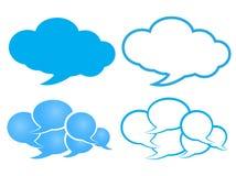 Wektorowy gadka bąbel w chmurze błękitny i biały z błękitnym konturem Zdjęcia Stock
