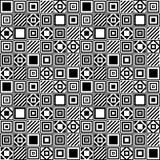 Wektorowy geometryczny bezszwowy wzór z kwadratami i liniami Obrazy Stock