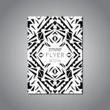 Wektorowy geometryczny czarny i biały broszurka szablon dla biznesu i zaproszenia ethnic royalty ilustracja