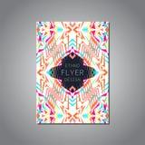 Wektorowy geometryczny kolorowy broszurka szablon dla biznesu i zaproszenia Etniczny, plemienny, aztec styl ilustracja wektor