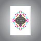 Wektorowy geometryczny kolorowy broszurka szablon dla biznesu i zaproszenia Etniczny, plemienny, aztec styl royalty ilustracja