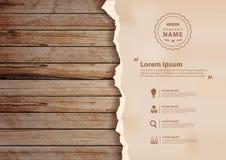 Wektorowy grunge papier na drewnianej ścianie royalty ilustracja