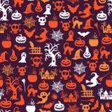 Wektorowy Halloween wzoru tło z czarownicami, banie, duchy, pająk sylwetki royalty ilustracja