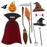 Wektorowy Halloweenowy magiczny wyposażenie i ubrania ustawiający Kapelusz, deszczowiec, trójząb i inny, royalty ilustracja