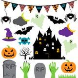 Wektorowy Halloweenowy Ustawiający z Strasznymi i Ślicznymi elementami ilustracja wektor