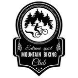 Wektorowy halny jechać na rowerze krańcowy sporta klubu emblemat royalty ilustracja
