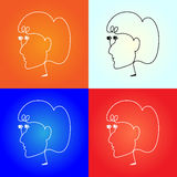 Wektorowy hełmofon jak kobiety twarz Obraz Royalty Free