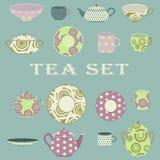 Wektorowy herbaciany ustawiający na błękitnym tle Fotografia Stock