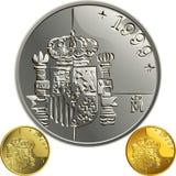 Wektorowy Hiszpański pieniądze złoto i srebnej monety jeden pes Obraz Stock
