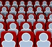 Wektorowy Horyzontalny Bezszwowy kino Sadza rzędy z ludźmi, Kolorowy tło ilustracji