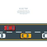 Wektorowy horyzontalny bezszwowy tło z drogowymi i multicolor samochodami ilustracja wektor