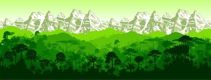 Wektorowy horyzontalny bezszwowy tropikalny tropikalny las deszczowy gór tło royalty ilustracja