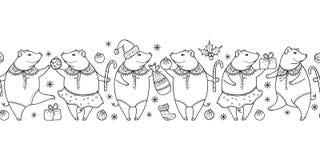 Wektorowy horyzontalny bezszwowy wzór konturu czerni świnia odizolowywająca na białym tle Konturowy symbol Chiński nowy rok 2019 royalty ilustracja