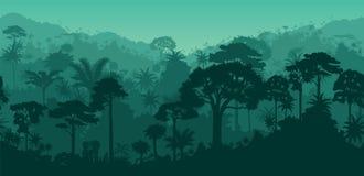 Wektorowy horyzontalny Guyana Suriname tropikalnego lasu deszczowego bezszwowy tropikalny tło ilustracja wektor