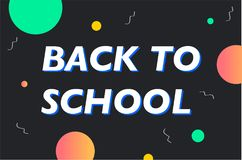 Wektorowy horyzontalny szkolnego sztandaru Memphis kolorowy styl tylna banner do szkoły ilustracji