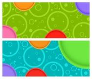 2 wektorowy horyzontalny sztandar z okręgami i okręgi z barwioną pojemnością Obrazy Royalty Free