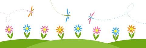 Wektorowy horyzontalny tło z kwiatami i dragonflies ilustracji