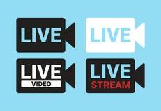 Wektorowy ikon technologii cyfrowych, żywego i onlinego wideo, Ikona sylwetka kamera z tekstem: Żywy wideo, Żywy royalty ilustracja