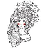 Wektorowy ilustraci karty piękno i moda Dziewczyna z kwiatami na ona kierownicza Zentangl, dudling Dorosłe kolorystyk książki ilustracji