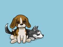 Wektorowy ilustraci 2 szczeniaków kreskówki styl Obrazy Stock