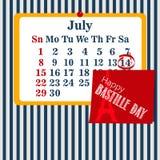 Wektorowy ilustracja kalendarz dla 14th Lipiec Szczęśliwy Bastille dzień Zdjęcia Royalty Free
