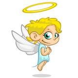 Wektorowy ilustracyjny śliczny Bożenarodzeniowy latający anioła charakter Obraz Royalty Free