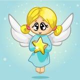 Wektorowy ilustracyjny śliczny Bożenarodzeniowy latający anioła charakter 2007 pozdrowienia karty szczęśliwych nowego roku Zdjęcia Stock