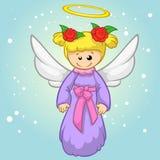 Wektorowy ilustracyjny śliczny Bożenarodzeniowy latający anioła charakter 2007 pozdrowienia karty szczęśliwych nowego roku Fotografia Stock