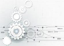 Wektorowy ilustracyjny Abstrakcjonistyczny futurystyczny, 3d białego papieru przekładni koło na obwód desce ilustracji