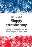 Wektorowy ilustracyjny Bastille dzień, francuz flaga w modnym grunge stylu 14 Lipa projekta szablon dla plakata, sztandar, flayer ilustracji