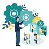 Wektorowy ilustracyjny Biurowy pięcioliniowy szkolenie Drużynowy główkowanie Przyrostowe sprzedaże i umiejętności ilustracji