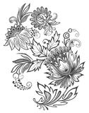 Wektorowy ilustracyjny czarny i biały kwiatu ornament ilustracji