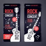 Wektorowy ilustracyjny czarny rockowego koncerta projekta biletowy szablon z czarną gitarą i chłodno grunge skutki w tle ilustracji