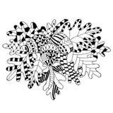 Wektorowy ilustracyjny dębowy śniadanio-lunch, liście i acorns w doodle, projektujemy ilustracja wektor