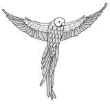 Wektorowy ilustracyjny dekoracyjny ptak na białym tle Kolorystyki książka dla dorosłych Obraz Royalty Free