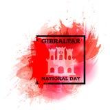 Wektorowy ilustracyjny Gibraltar święto państwowe z widokiem Gibraltar - czerwień grodowy i złoty klucz w akwarela stylu 10 Wrześ Zdjęcie Stock