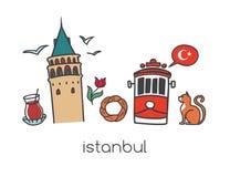 Wektorowy ilustracyjny Istanbuł z ręka rysującymi doodle tureckimi symbolami: Galata góruje, herbaciany szkło, tramwaj, simit bag ilustracja wektor