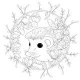 Wektorowy ilustracyjny jeż z kwiatami Kolorystyki książki anty stres dla dorosłych czarny white ilustracja wektor