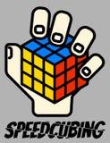 Wektorowy ilustracyjny jednoręczny Rubik ` s sześcianu Speedsolving logo Zdjęcia Stock