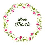 Wektorowy ilustracyjny kartka z pozdrowieniami marsz z okwitnięcie kwiatu ramą cześć royalty ilustracja