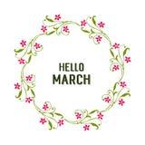 Wektorowy ilustracyjny kartka z pozdrowieniami marsz z okwitni?cie kwiatu ram? cze?? ilustracji