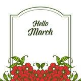 Wektorowy ilustracyjny kartka z pozdrowieniami marsz z okwitni?cie kwiatu ram? cze?? royalty ilustracja