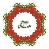 Wektorowy ilustracyjny kartka z pozdrowieniami marsz z okwitni?cie kwiatu ram? cze?? ilustracja wektor