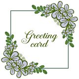 Wektorowy ilustracyjny kartka z pozdrowieniami projekt z jaskrawymi purpura kwiatu ramami kwitnie royalty ilustracja
