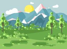 Wektorowy ilustracyjny kreskówki natury parka narodowego krajobraz z krzakami, gazon, drzewa, dzienny słoneczny dzień z niebieski ilustracji