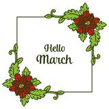 Wektorowy ilustracyjny kształt karta marsz z okwitnięcie kwiatu ramą cześć ilustracji